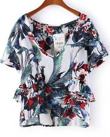 White Short Sleeve Floral Ruffle Blouse