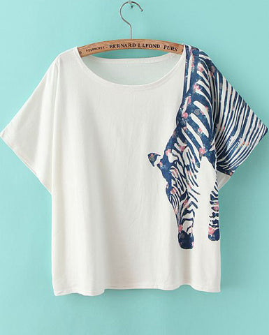 White Short Sleeve Zebra Print Loose T-Shirt