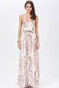 Apricot Florals V-neck Spaghetti Straps Backless Maxi Dress
