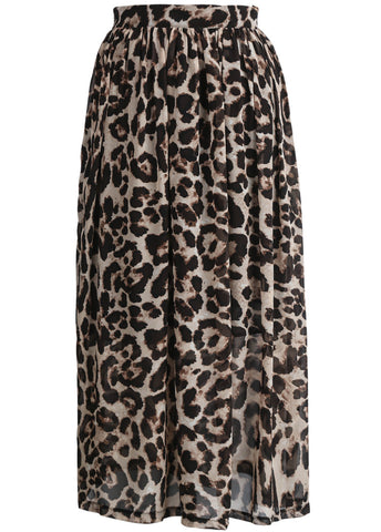Apricot Leopard Pleated Chiffon Skirt