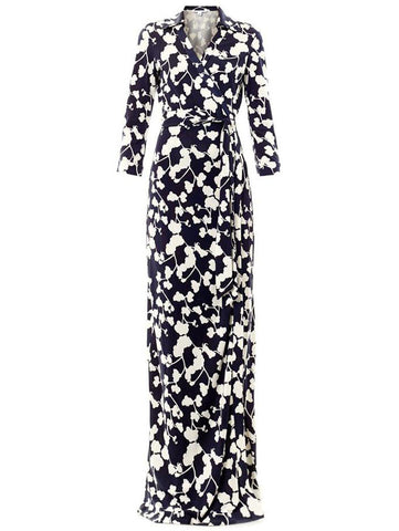 Navy V Neck Floral Print Full Length Dress