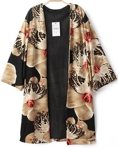 Black Vintage Floral Loose Cape Blouse
