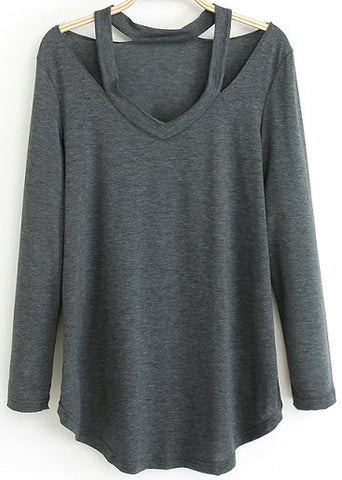 Grey Long Sleeve Halter Loose T-Shirt