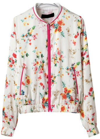 White Long Sleeve Floral Zipper Pockets Jacket