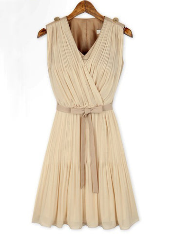 Apricot Sleeveless V Neck Belt Pleated Dress