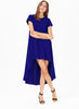 Blue Short Sleeve Split High Low Dress