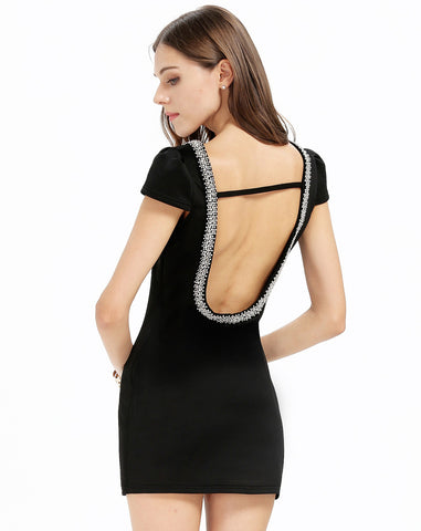 Black Backless Beaded Neck Bodycon Mini Dress