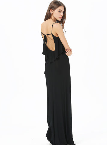 Black Spaghetti Strap Ruffle Tied Maxi Dress