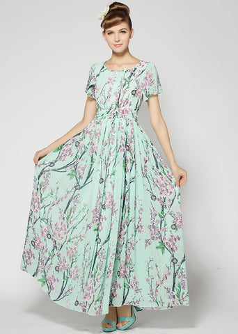 Green Short Sleeve Floral Chiffon Full Length Dress