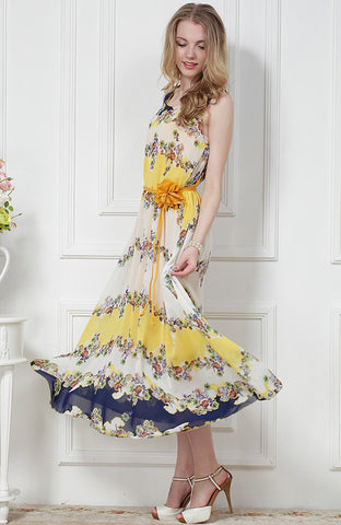 Yellow Sleeveless Floral Full Length Tank Dress