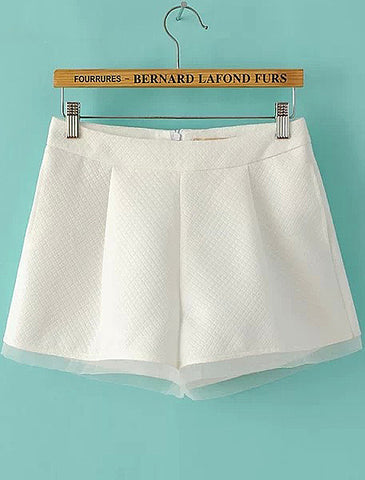 White Pockets Contrast Organza Zipper Shorts
