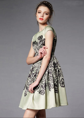Green Short Sleeve Vintage Floral Pleated Dress