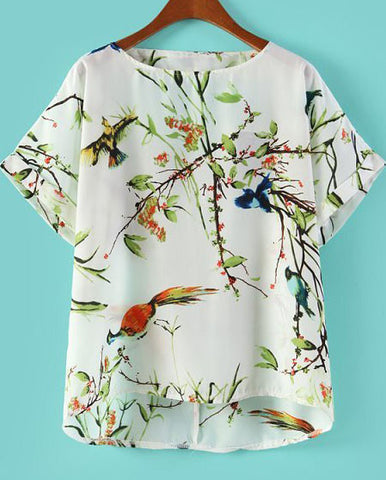White Short Sleeve Floral Birds Print Chiffon Blouse