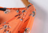 Orange Long Sleeve Floral Loose Chiffon Blouse