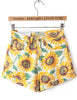 Yellow Sunflower Print Pockets Shorts