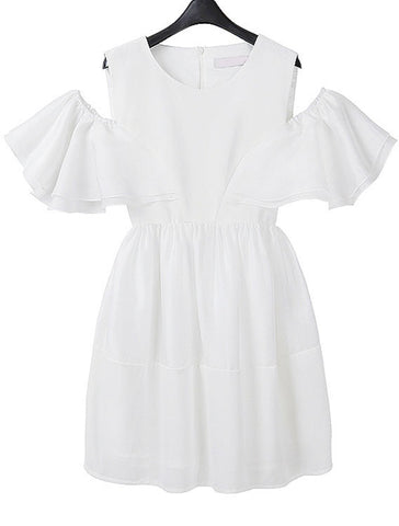 White Off the Shoulder Ruffle Loose Dress