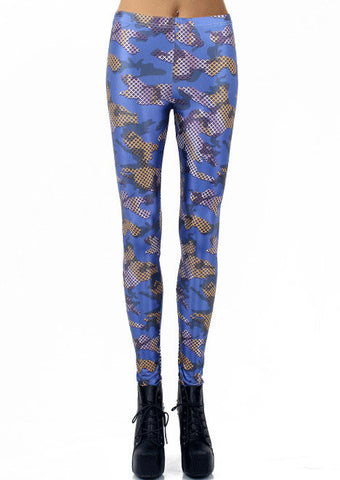 Blue Net Print Skinny Leggings