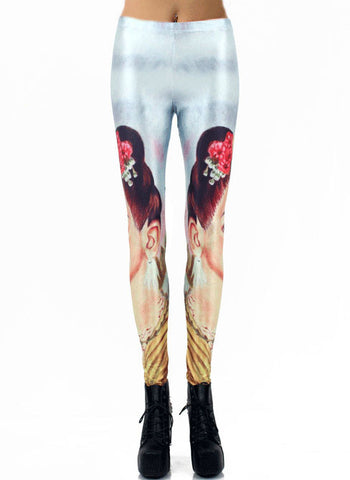 Light Blue Skinny Beauty Print Leggings