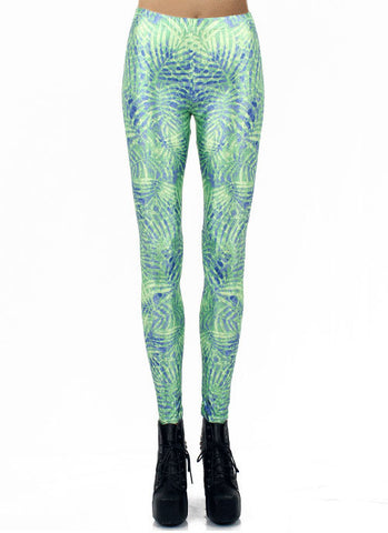 Green Digital Leaves Print Elastic Leggings