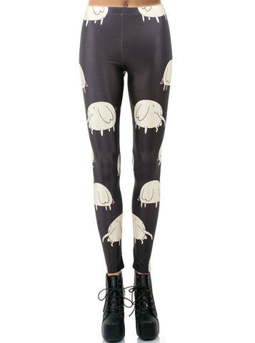 Black Digital Elephants Print Leggings