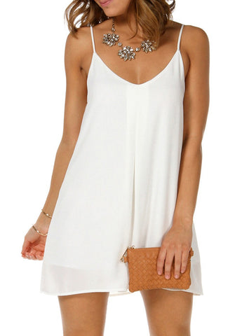 White Spaghetti Strap V Wire Shift Dress