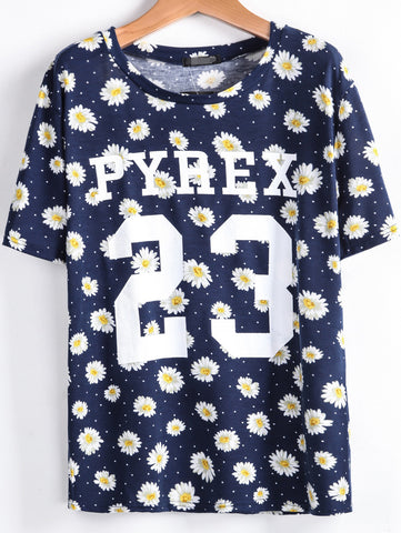 Navy Short Sleeve Daisy 23 Print T-Shirt