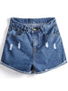Blue Ripped Flange Pockets Denim Shorts