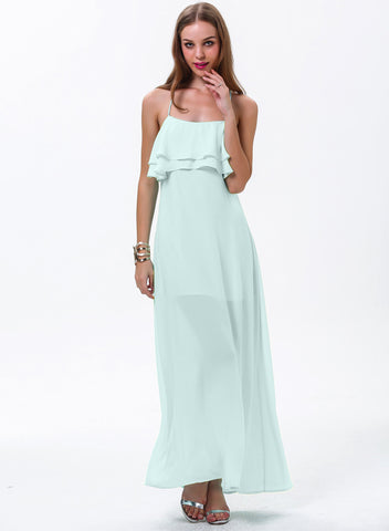 Green Strapless Ruffle Full Length Dress