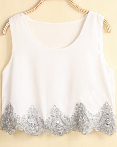 White Sleeveless Bead Lace Chiffon Vest