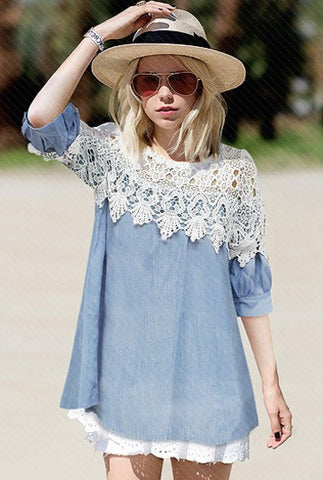 Blue Contrast Lace Hollow Denim Dress