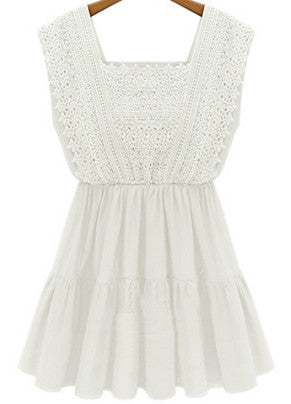 White Square Neck Sleeveless Floral Crochet Dress