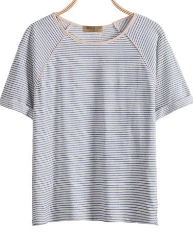 Blue White Striped Short Sleeve Loose T-Shirt