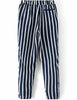 Blue White Vertical Stripe Drawstring Straight Pant