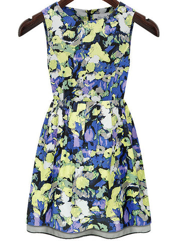 Blue Round Neck Sleeveless Floral Tank Dress