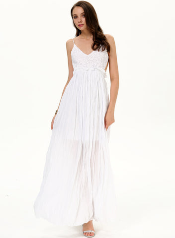 White Spaghetti Strap Embroidered Pleated Maxi Dress