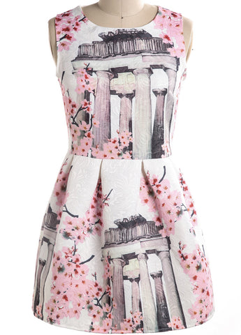 White Sleeveless Castle Print Flare Dress