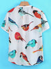 White Short Sleeve Birds Print Dipped Hem T-Shirt