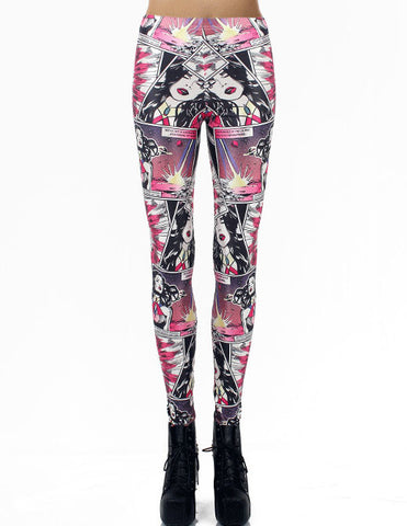 Red Elastic Cartoon Print Leggings