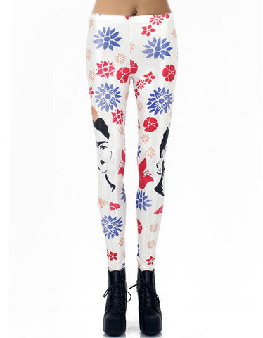 White Floral Avatar Print Leggings
