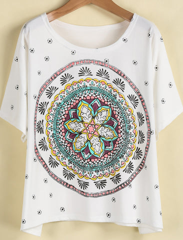 White Short Sleeve Vintage Floral Loose T-Shirt