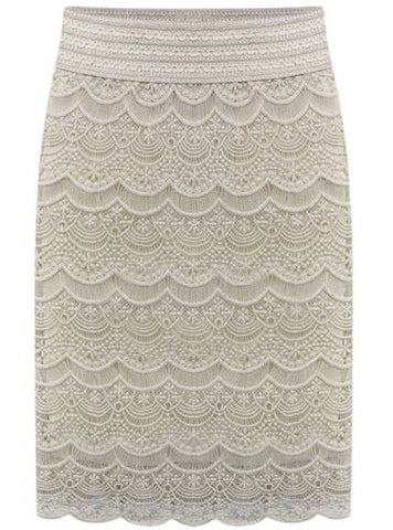 Apricot Embroidered Lace Bodycon Skirt