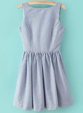 Blue Sleeveless Vertical Stripe Backless Dress
