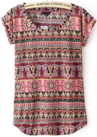 Red Short Sleeve Vintage Tribal Print T-Shirt