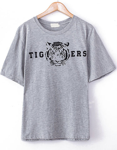 Grey Short Sleeve Tiger Print Loose T-Shirt