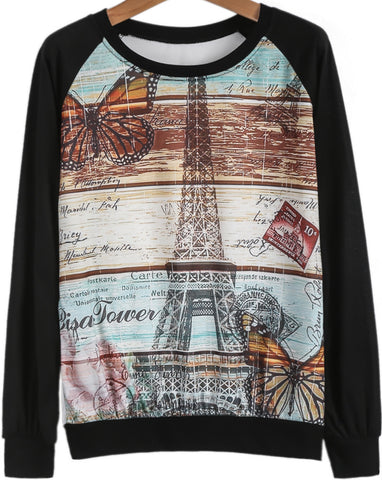 Black Long Sleeve Pylon Print Loose T-Shirt