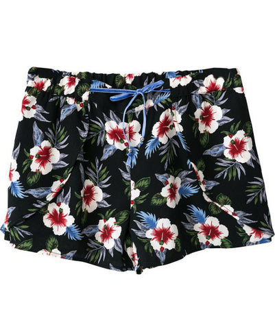 Black Drawstring Waist Floral Loose Shorts
