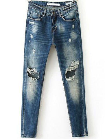 Navy Bleached Ripped Denim Pant