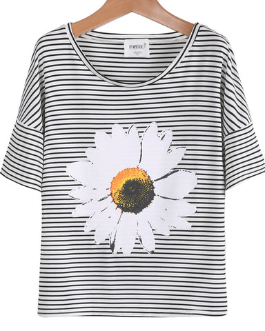 Black White Striped Short Sleeve Sunflower Print T-Shirt