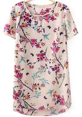 Apricot Short Sleeve Floral Butterfly Print Blouse