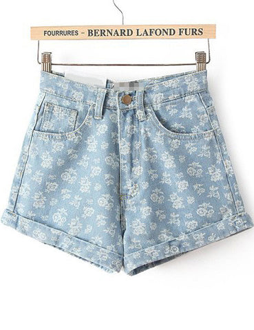 Blue High Waist Floral Straight Denim Shorts